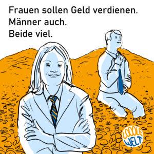Unten rechts in der Zeichnung ein Logo. COOOLE WELT. COOOLE ist mit 3 o geschrieben. Eine Referenz an Trisomie 21. Cooole ist in orange, Welt ist in blau geschrieben. Innerhalb eines Kreises, erinnert an die Weltkugel. Alles von Hand gezeichnet und geschrieben. Eine junge Frau mit Down-Syndrom sitzt im Bildanschnitt vorn links, mit vor der Brust verschränkten Armen, zufrieden schauend. Sie trägt eine blau-orange Krawatte und ein Sakko. Schräg rechts im Bild hinten sitzt ein junger Mann mit Down-Syndrom. Er sieht auch zufrieden aus, richtet sich die blaue Krawatte. Beide sitzen auf einem Gebirge aus orangen Münzen. Farben der Figuren: hellblau, weiß. Schwarze Linien. Im weißen Hintergrund der Text: Frauen sollen Geld verdienen. Männer auch. Beide viel.